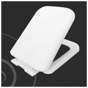 White square toilet seat with slow close damper ceramic