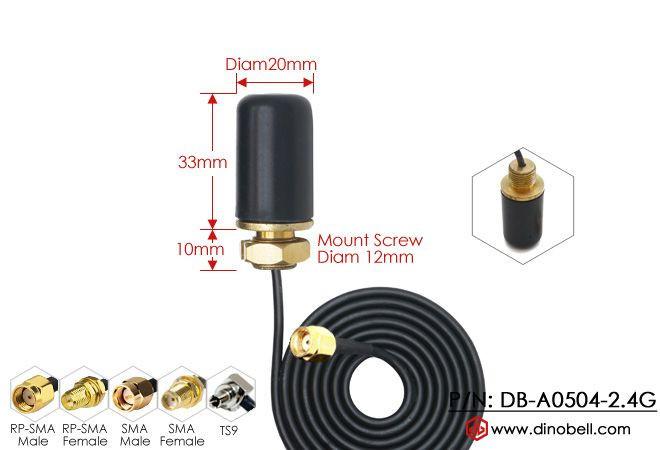 4dBi 2.4Ghz Through Hole Screw Mount WiFi Antenna DB-A0504-2.4G