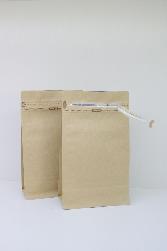 Coffee, tea, nuts, herbals common packaging flat bottom paper bag, with easy-tear pocket zipper