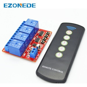 12V 4-Channel IR Infrared Receiver Board Delay Relay Driving Module + 5-Key Remote Controller Self-Lock Interlock Inching Switch