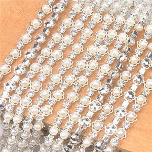 5mm pearl beads rhinestone flower chain crystal diamond sew on Garment accessories shoe wedding DIY Loose beads clothing decor