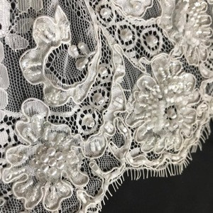 Beaded knitting lace hand work embroidery fabric design for lace wedding dress