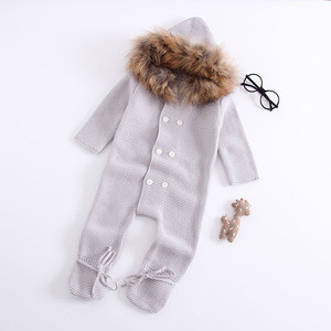 BR89 Wholesale Hooded Baby Boy Girl Winter Coat Rompers Clothing  Outwear Cute Knitted Baby romper