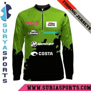 Custom 100% Polyester UV Protection Sublimation Long Sleeves Fishing Jersey Shirts