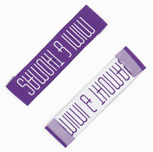 Fashion customized dress fabric straight cut woven labels garment label