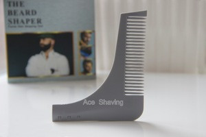 Grey plastic beard comb