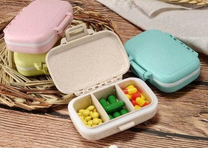 Hot Sale Eco-friendly Bamboo Fiber Sealed Medicine box Storage case for pill