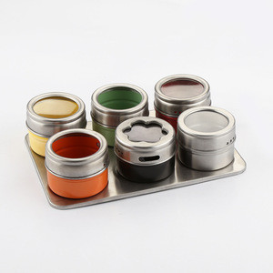 Stainless Steel Magnetic Containers Multipurpose Spice Tin Rack Perfect Kitchen Storage 6 Piece Set with non stick coating