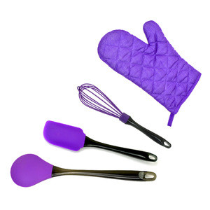 VEICA New Design 4 Pieces Colorful Silicone Kitchen Baking Utensils Set