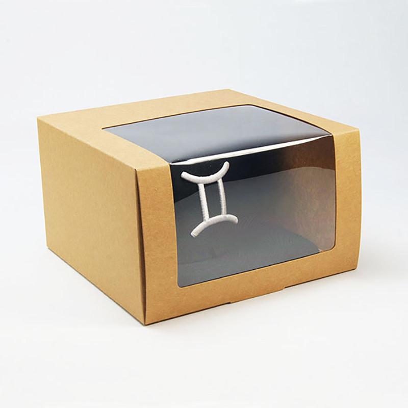 Wholesale Simple Kraft Paper Box Square Shape Custom Logo Hat Packaging Box With Window