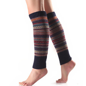 Women Knee High Socks Winter Bohemian Boot Cuffs Knit Crochet Leg Warmers