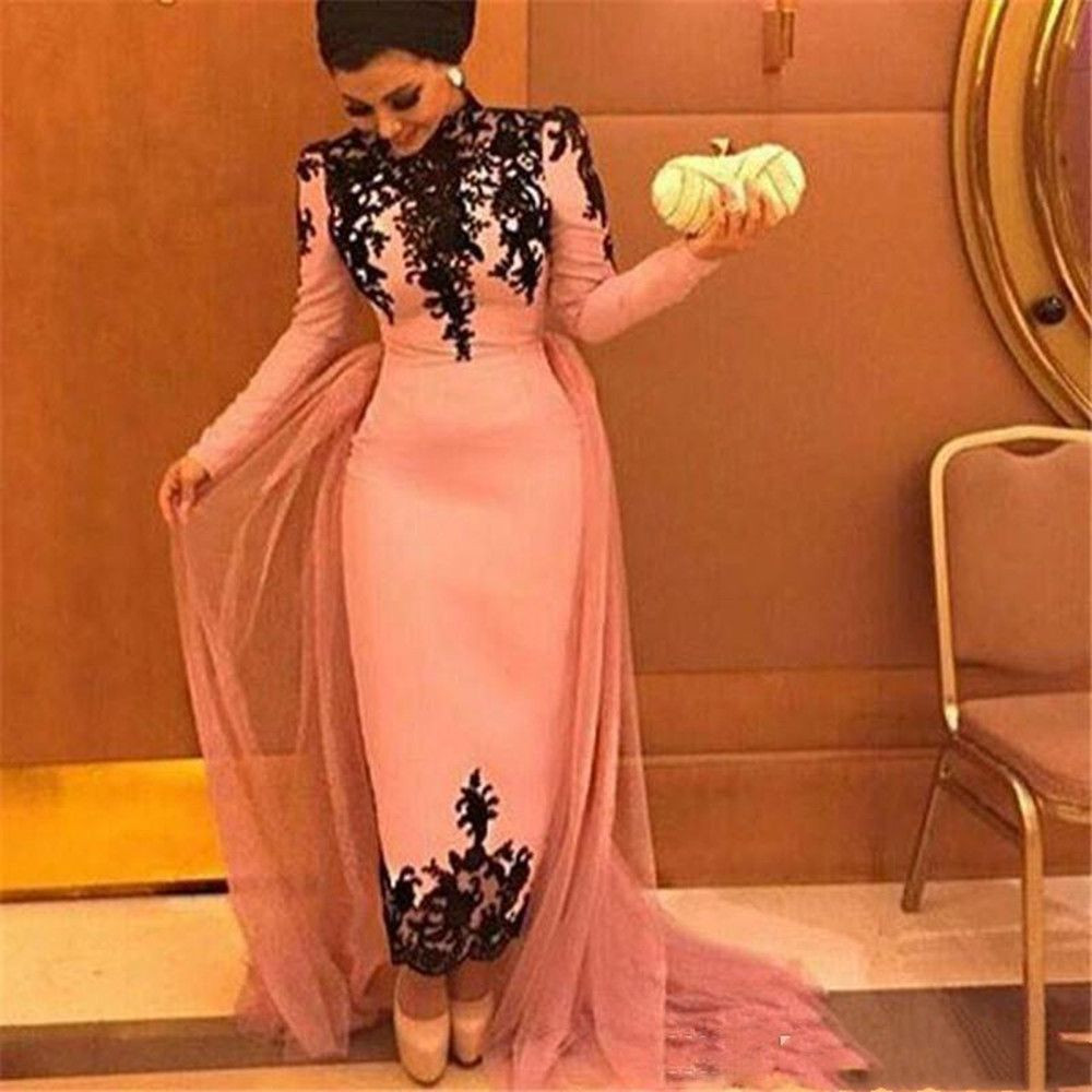 Vintage High Neck Ankle Length Sheath Evening Dresses with Long Sleeves black Lace Appliques Prom Dresses Formal gowns Vestidos Longo
