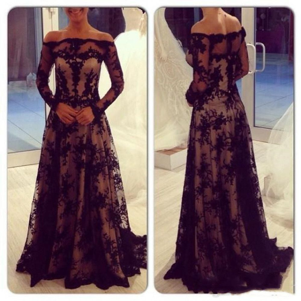 Long Sleeve Lace Mother of the Bride Dress Off Shoulder Floor Length A Line 2020 Modern Women Formal Evening Gowns