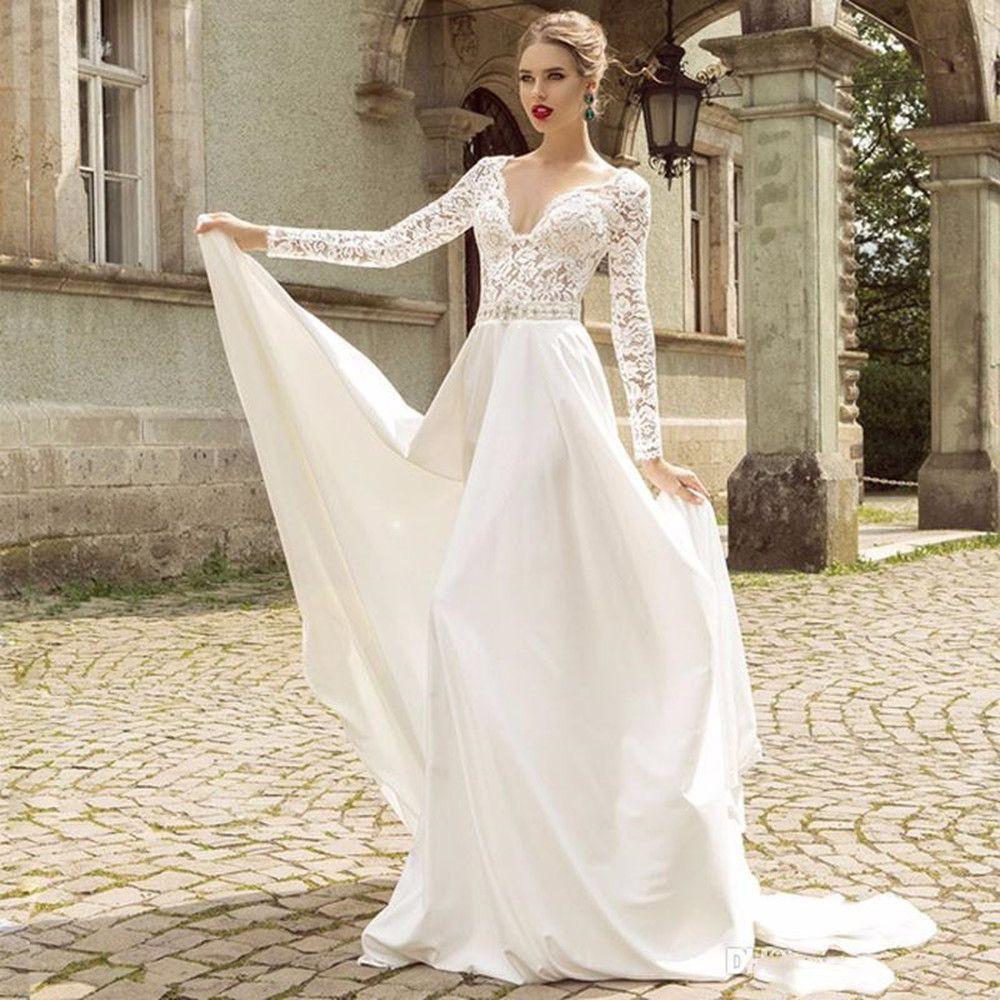 free shipping Long Sleeves Wedding Dresses Lace Deep V-neck Sweep Train Vestido de Novia A-line Satin Gowns For Bridal