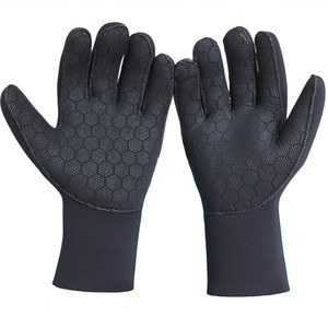 3mm Thickness Black Neoprene Diving Gloves With Mesh