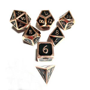Black with copper color metal dice custom engrave dice