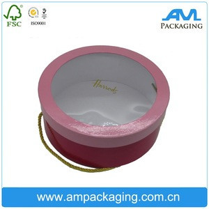 Custom Logo Round Box With Handle Hair Extension Wig Packaging