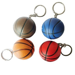 Eco-friendly Squeeze PU Foam Stress Ball with keychain rugby design sponge material round pressure ball, sponge grip ball