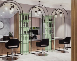 Fashionable barber shop interior design hair salon station mirror 3D design