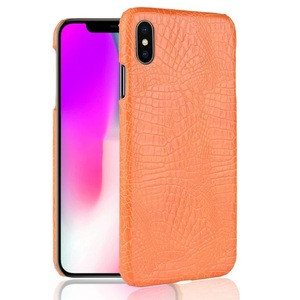 For iPhone Xs Max PU Leather Crocodile Textured Hard Back Cover PC Shell Phone Case