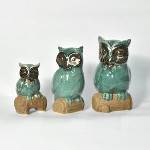 Home Furnishing decoration blue Ceramic Owl