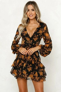 Hot sale Spring Autumn new fashion flower print long sleeve dress
