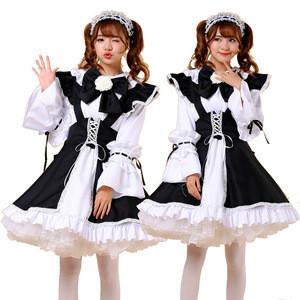Maid Dress Sweet Girls Restaurant Waiters Uniform Bow Maid Costume