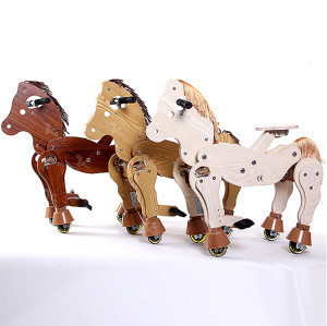 Mechanical riding horse wooden horse with wheels walking animal ride on toy