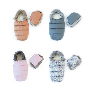New Customized Gray Baby Thermal Cotton Polar Foot Muff Sleeping Bag For Stroller