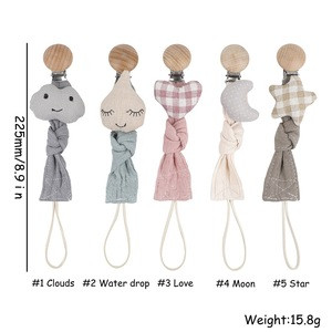 Newest Design Baby Eco-friendly Organic Cotton Cute Pacifier Clips Holder Chain