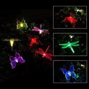 Outdoor Solar Stake Lights Multi-color Changing LED Garden Lights Premium Butterfly Decorative Lights
