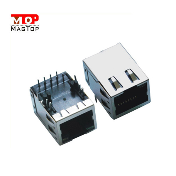 RJ45 ethernet Connector with 180 degree & RJ45 Jack / Connector With Transformer Module Vertical RJ45 Female Connector Cable