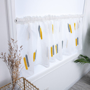 Small fresh embroidery lace  Ready Made Kitchen Curtains