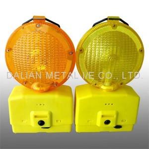 Solar led signal warning yellow/red flashing block lamp