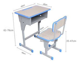Wholesale Factory Metal Leg MDF +PP School Desk And Chair Set Adjustable Height Classroom Student Chair And Bench