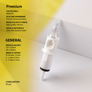 20pcs/box Premium Quality E.O. Gas Sterilized Disposable Safety Round Liner RL Tattoo Cartridges Needles with Membrane