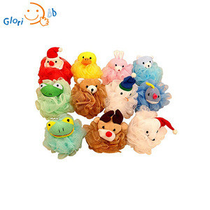 Baby animal shaped cloth towel material bath sponge loofah mesh puff shower sponge