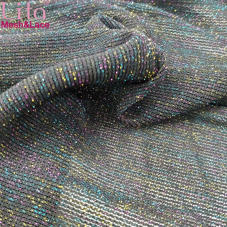 Lita J200424#  elastic shinning tulle nylon-spandex  mesh fabric with colorful yarn