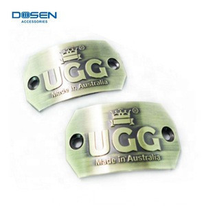 Custom Logo Pin On Metal Badges Boots Logo Label Handbag Accessories Curved Metal Plates for Shoes Metal Label Parts
