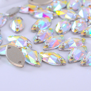 High quality k9 flatback rhinestone beads crystal ab sew on navette rhinestone