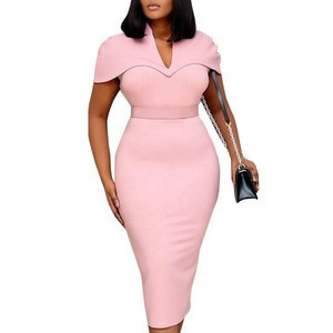 KEN-AM200311 High quality cloak pencil work dress short sleeve pink poncho pencil dress