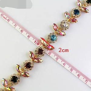 Mixed color AB color rhinestone trim flower crystal metal chain women clothing decorative shoes Accessories