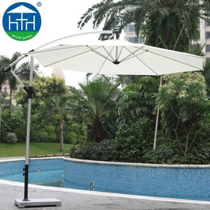 Outdoor furniture aluminum side post beach umbrella with marble base for restaurant
