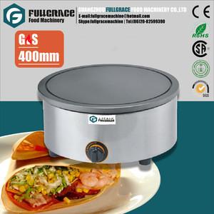 Popular stainless steel 400mm diameter commercial round gas crepe pancake maker
