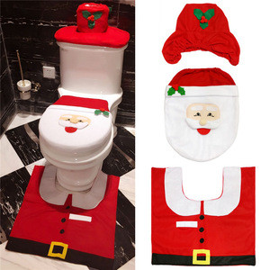 Santa Claus/elk/boy Merry Christmas Gifts toliet Closestool Cover Tank Cover Happy Santa Toilet Seat Cover and Rug Bathroom Set