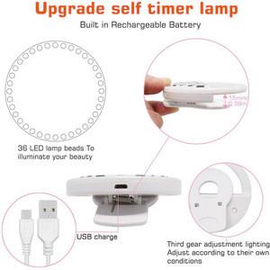 Selfie Ring Light for Phone  3-Level Brightness Battery Mini Selfie LED Light Camera Flash Lights Rechargeable Clip Selfie  Ring