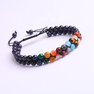 Wholesale high quality handmade planet beaded bracelet natural Blue Sandstone healing bracelet