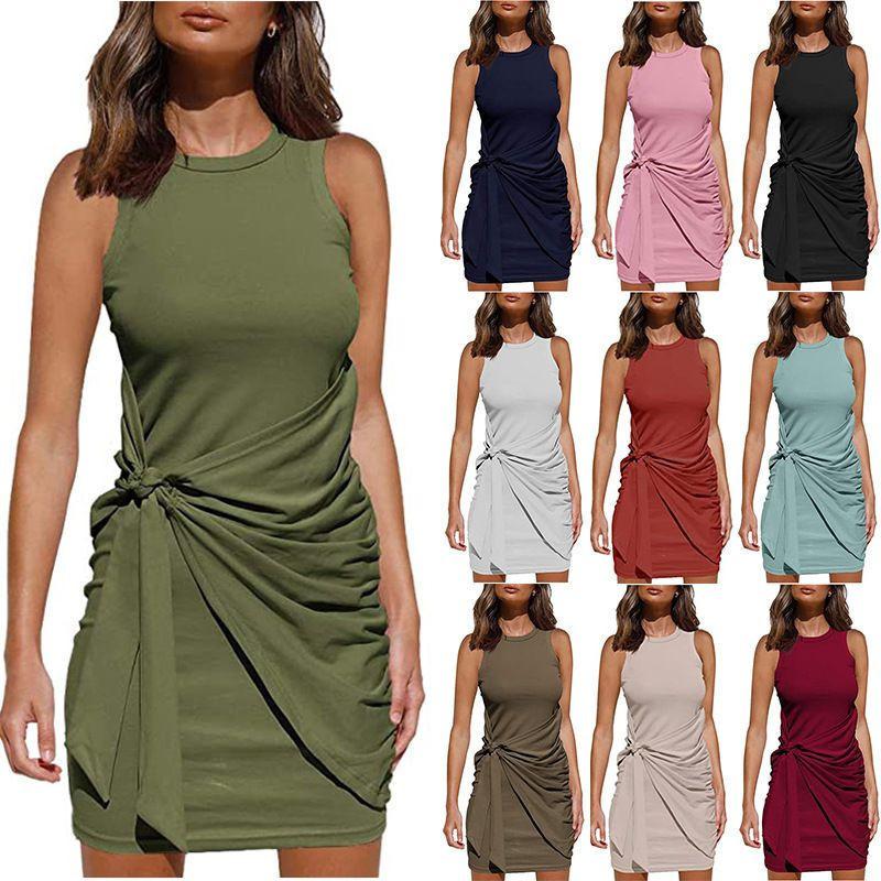 sleeveless round neck ruffle bow belt irregular dresses