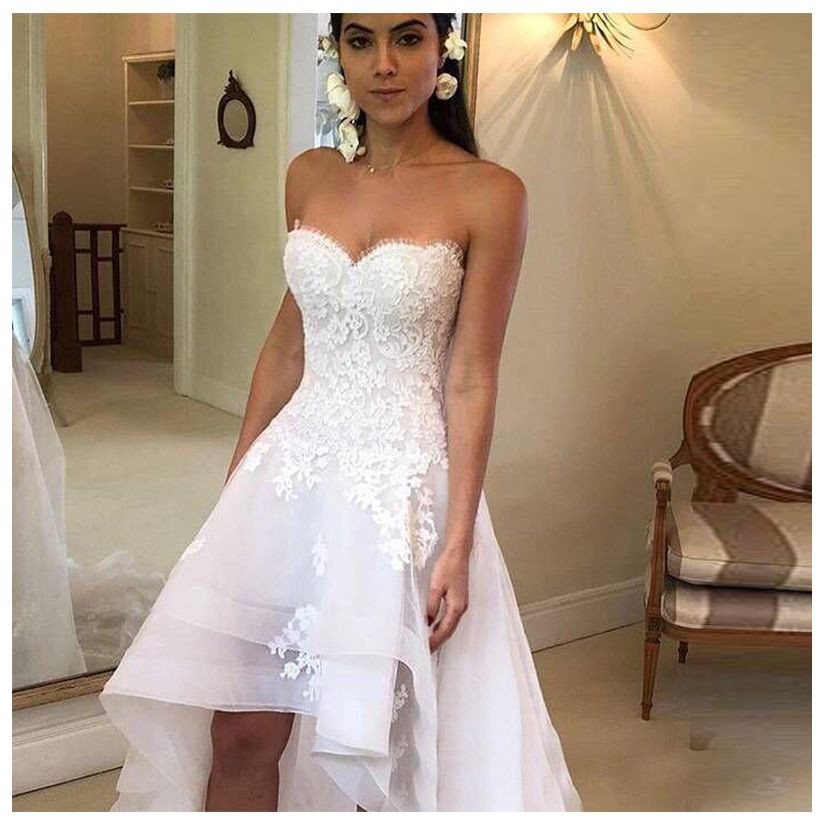 High Low Wedding Dress Sweetheart Appliqued Lace Tulle Backless Boho Wedding Bride Gown Strapless Bride Dress