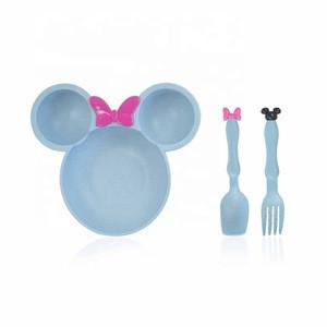 3-Piece Wheat Straw Children Bowl Mickey Tableware Cartoon Fork Spoon Fruit Bowl